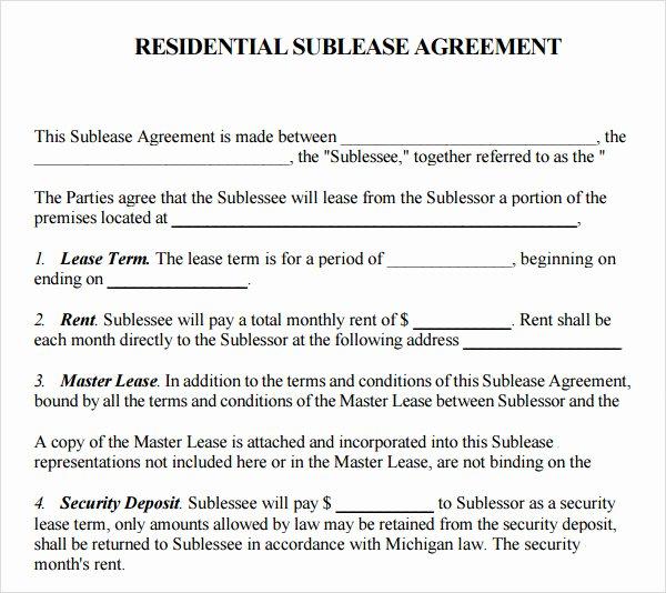 Sublease Agreement Template Word Luxury 23 Sample Free Sublease Agreement Templates to Download
