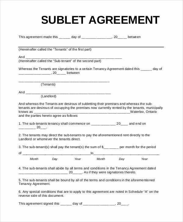 Sublease Agreement Template Word New 10 Sample Sublet Agreements