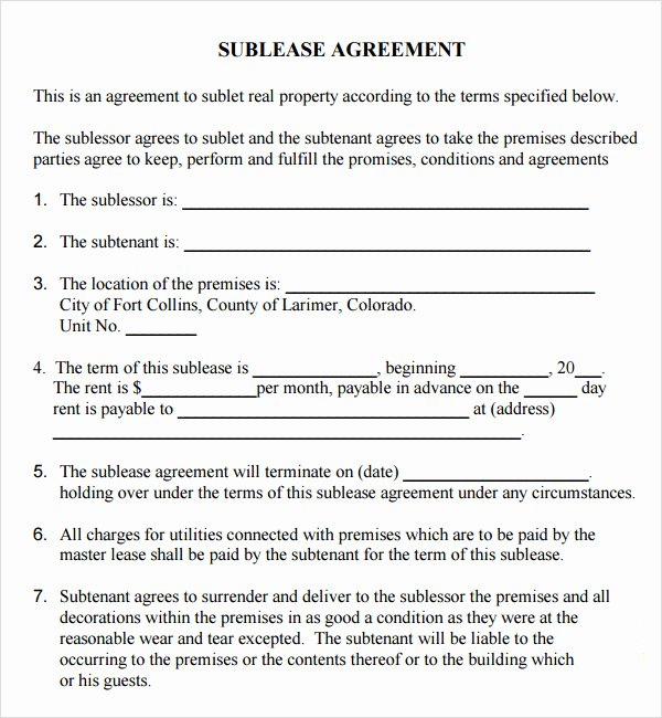 Sublease Agreement Template Word New 23 Sample Free Sublease Agreement Templates to Download
