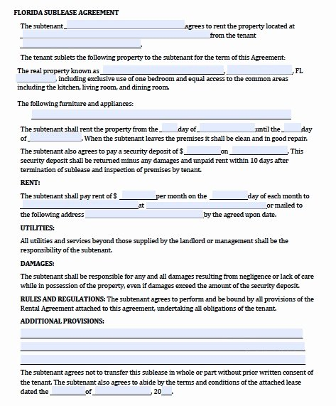 Sublease Agreement Template Word New Sublease Agreement Template