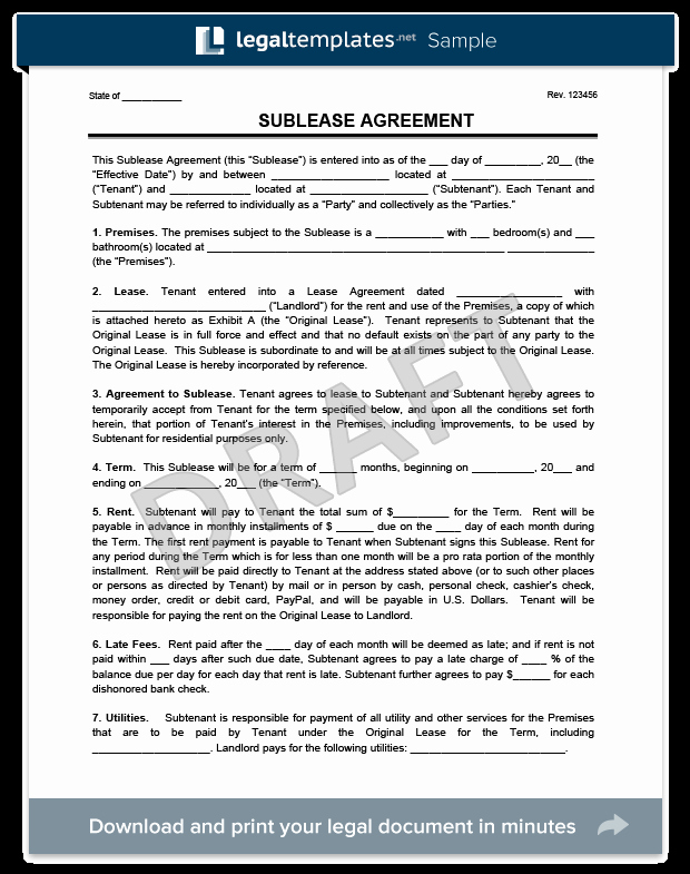 Subletting Lease Agreement Template Awesome Sublease Agreement Template