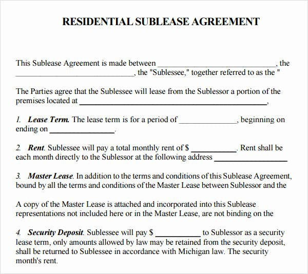Subletting Lease Agreement Template Beautiful 23 Sample Free Sublease Agreement Templates to Download