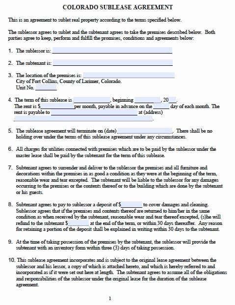 Subletting Lease Agreement Template Beautiful Free Colorado Sublease Agreement – Pdf Template