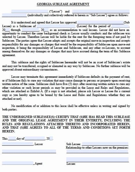 Subletting Lease Agreement Template Beautiful Free Georgia Sublease Agreement – Pdf Template