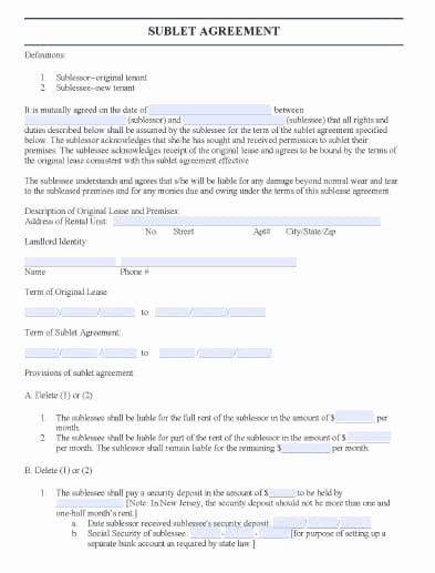 Subletting Lease Agreement Template Beautiful Free New Jersey Sublease Agreement form – Pdf Template