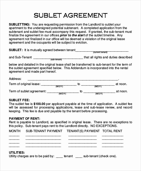 Subletting Lease Agreement Template Best Of 10 Sample Sublet Agreements