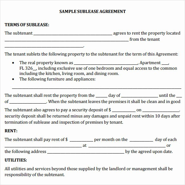 Subletting Lease Agreement Template Best Of 23 Sample Free Sublease Agreement Templates to Download