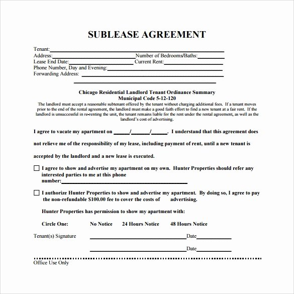 Subletting Lease Agreement Template Elegant 23 Sample Free Sublease Agreement Templates to Download
