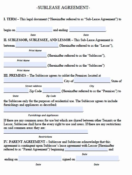 Subletting Lease Agreement Template Inspirational Sublease Agreement Template
