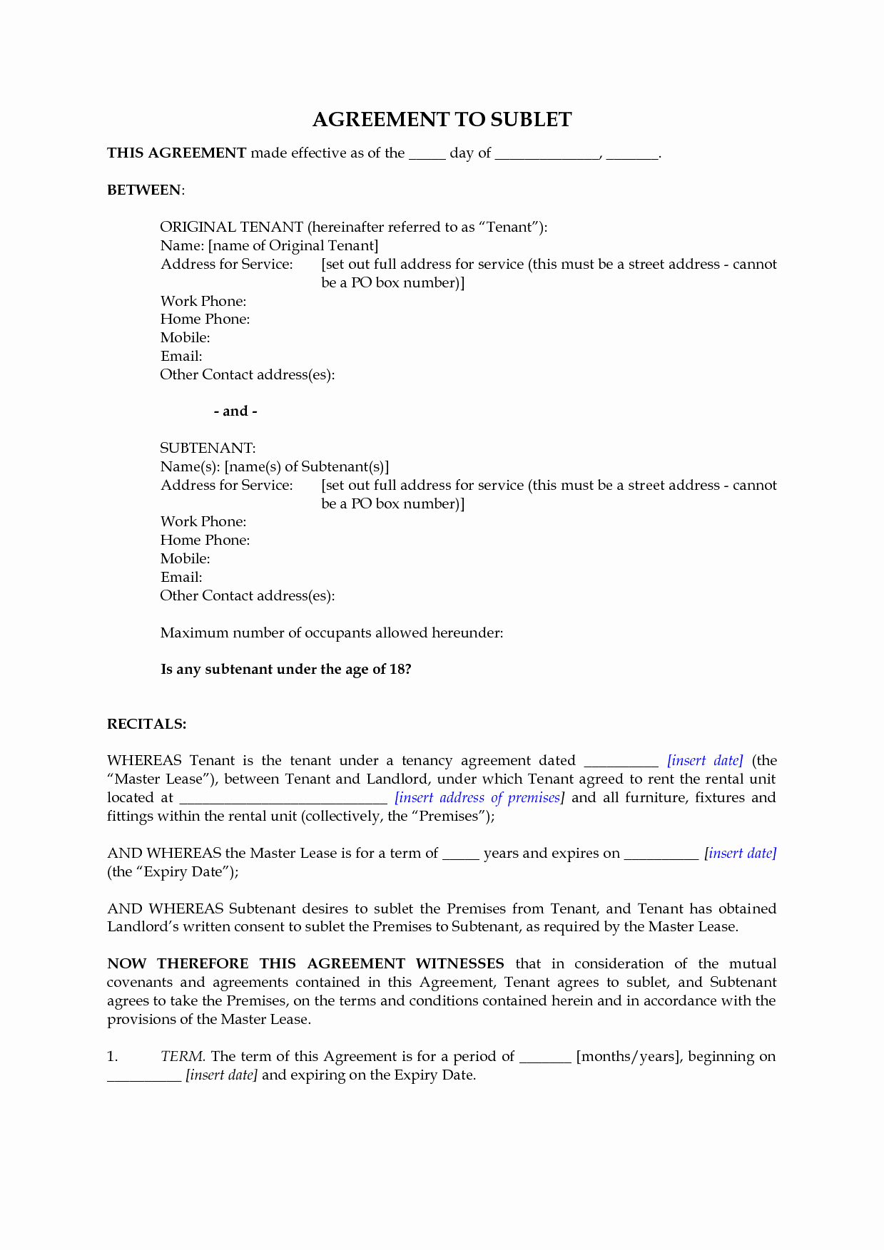 Subletting Lease Agreement Template Inspirational Sublet Agreement Template Bamboodownunder