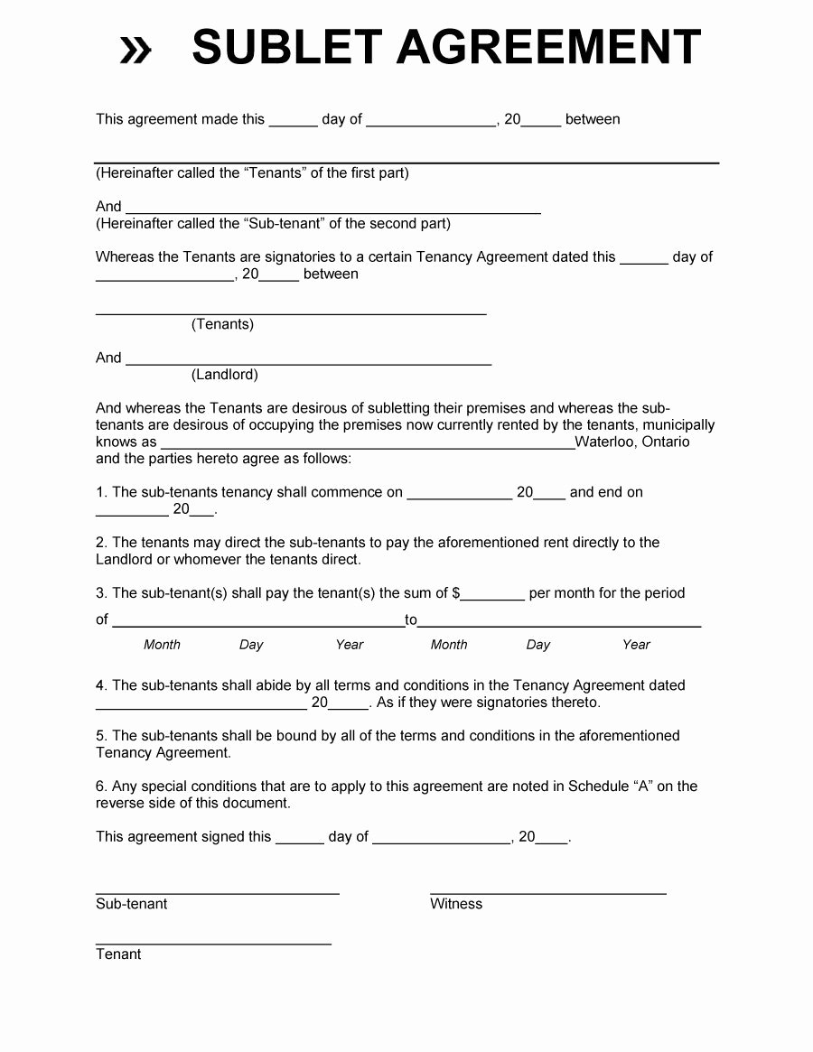Subletting Lease Agreement Template Luxury 40 Professional Sublease Agreement Templates & forms