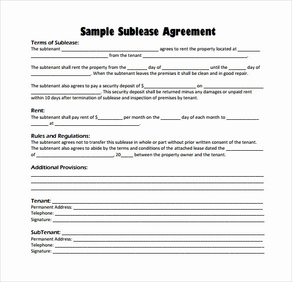 Subletting Lease Agreement Template New 23 Sample Free Sublease Agreement Templates to Download