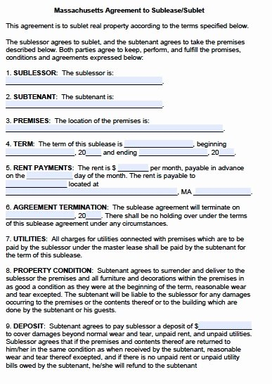 Subletting Lease Agreement Template New Sublease Agreement Template