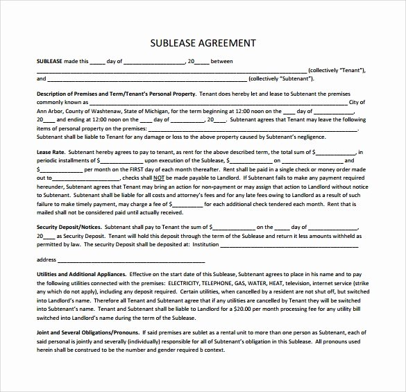 Subletting Lease Agreement Template Unique 23 Sample Free Sublease Agreement Templates to Download