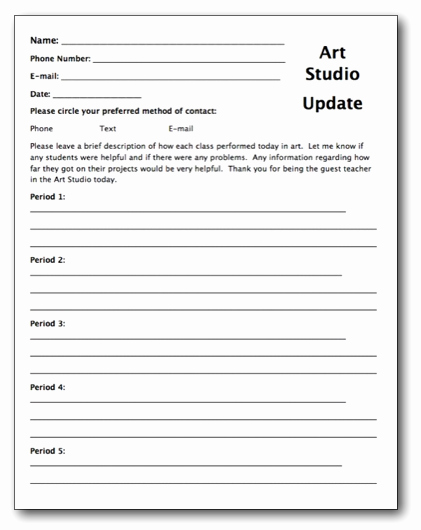 Substitute Lesson Plan Template Beautiful Creating A Substitute Teacher Folder for Your Art Room
