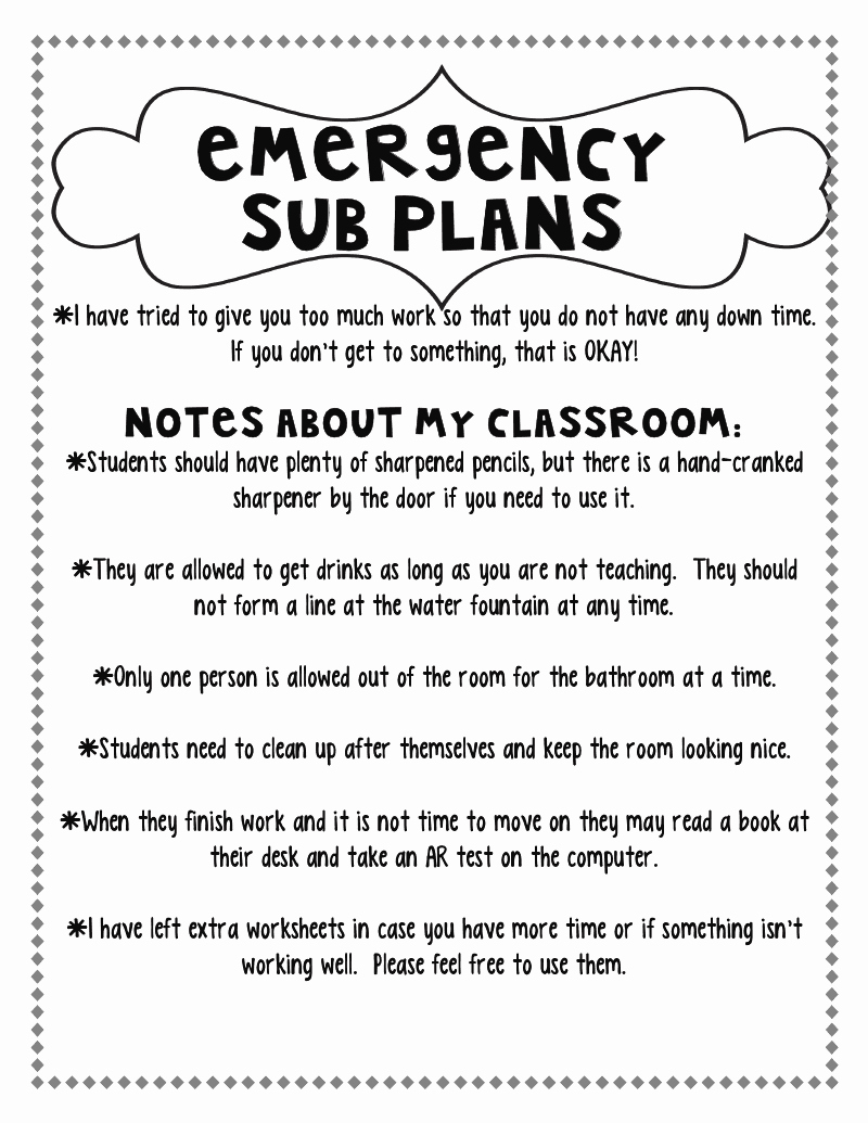 Substitute Teacher Plans Template Elegant Step Into 2nd Grade with Mrs Lemons Planning for A Sub