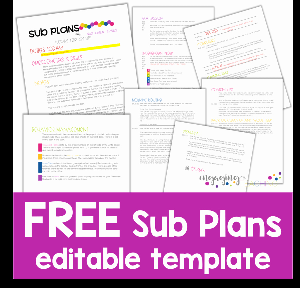 Substitute Teacher Plans Template Elegant Sub Plans Made Easy • Engaging Teaching Traci Clausen