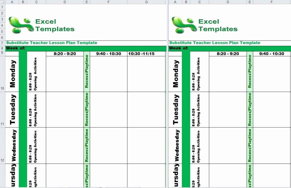 Substitute Teacher Plans Template Fresh Substitute Teacher Lesson Plan Template