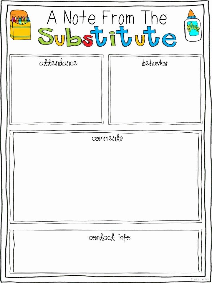 Substitute Teacher Plans Template Inspirational 25 Best Ideas About Substitute Teacher forms On Pinterest