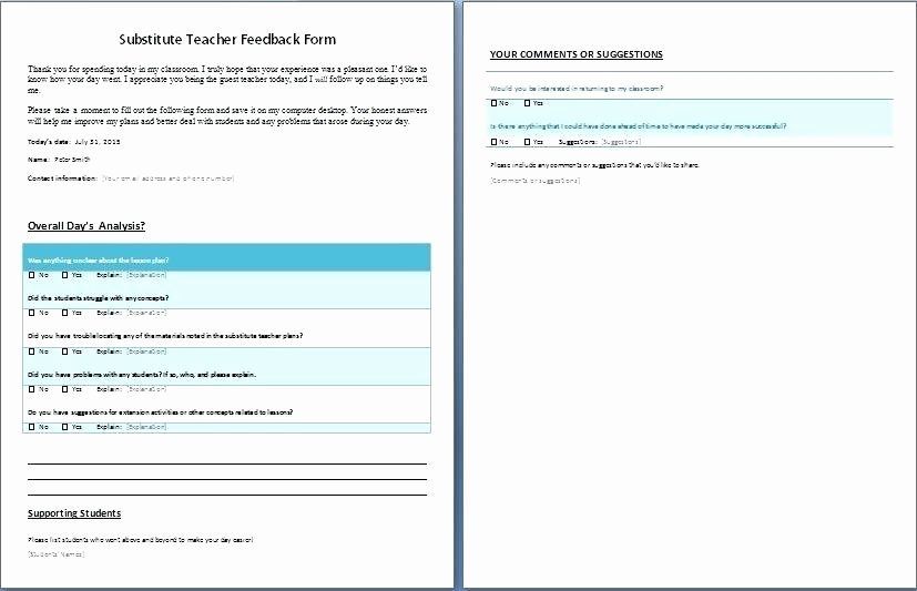 Substitute Teacher Report Template Awesome Feedback Report Template – Ensitefo