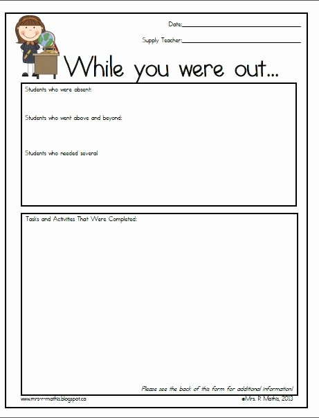 Substitute Teacher Report Template Awesome Pin by Darien Petit On Back to School End Of the Year