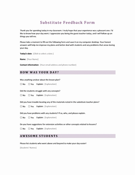 Substitute Teacher Report Template Awesome Surveys Fice