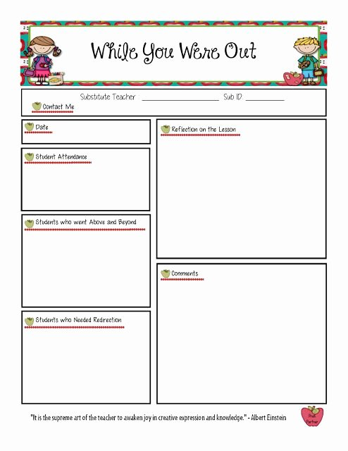Substitute Teacher Report Template Best Of 17 Best Images About Substitute On Pinterest