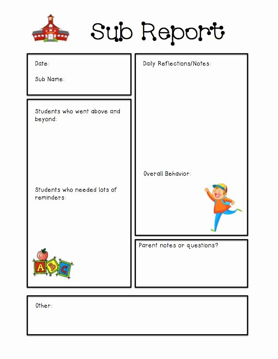 Substitute Teacher Report Template Fresh Substitute Teacher Report