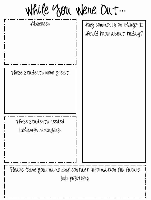 Substitute Teacher Report Template Fresh while You Were Out