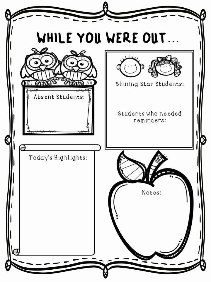 "Substitute Teacher Report Template Luxury ""while You Were Out Freebie"" for Substitute Teachers"
