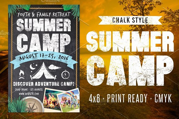 Summer Camp Flyer Template Awesome Chalk Summer Camp Flyer Flyer Templates On Creative Market
