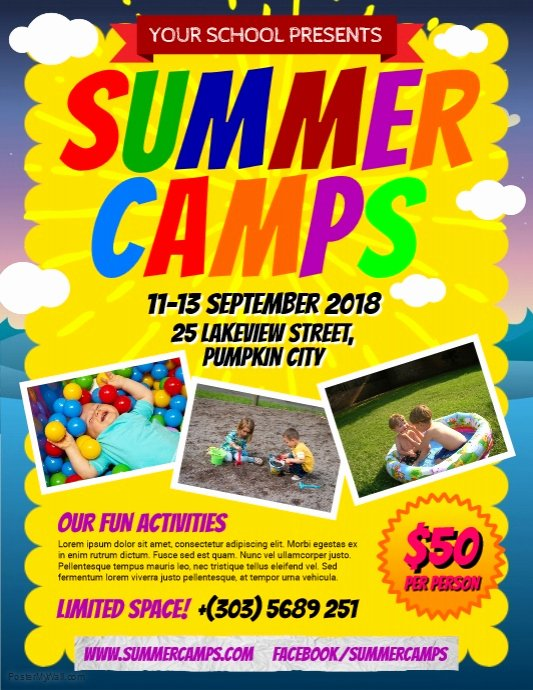 Summer Camp Flyer Template Awesome Copy Of Summer Camps Flyer