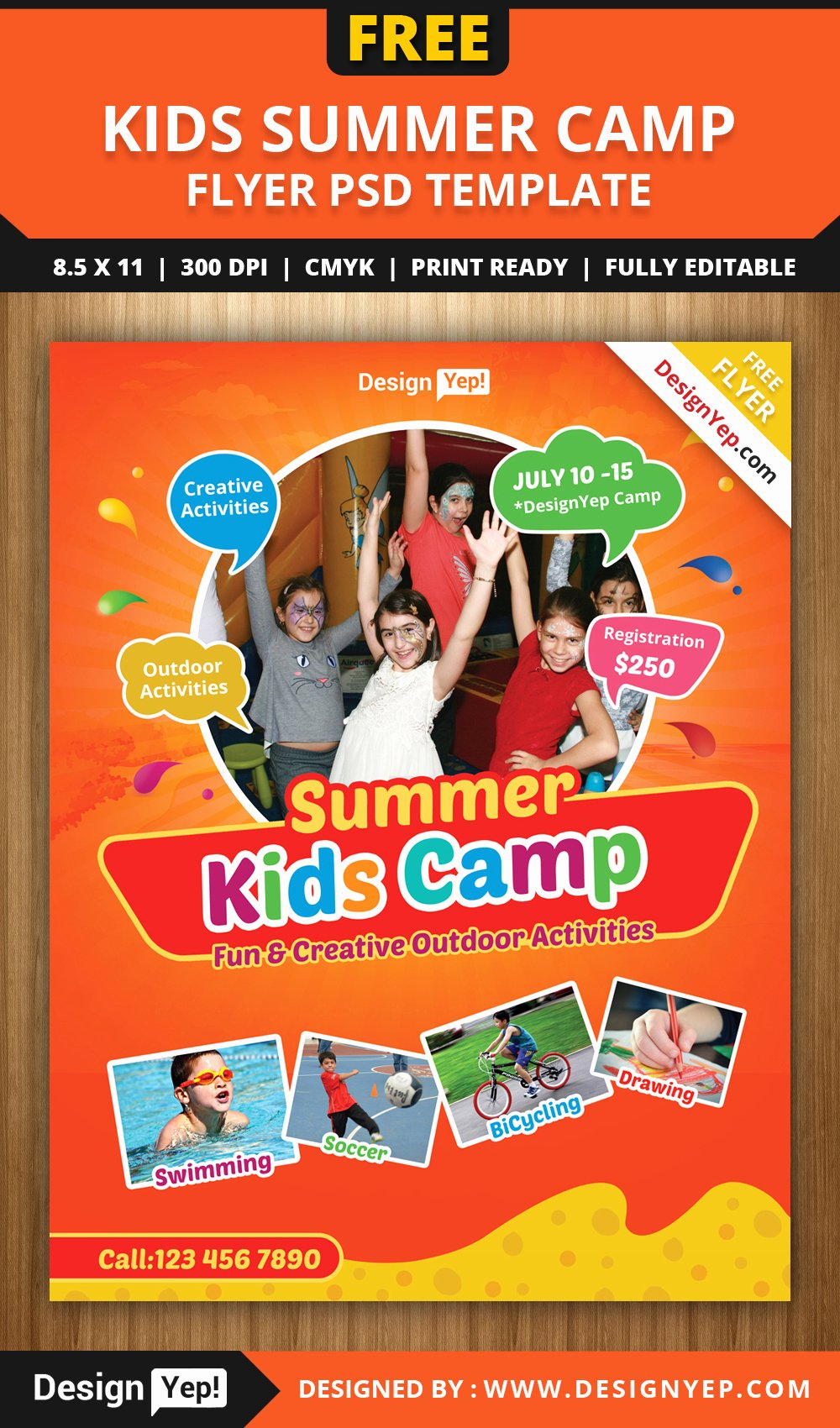 Summer Camp Flyer Template Elegant Free Kids Summer Camp Flyer Psd Template On Behance