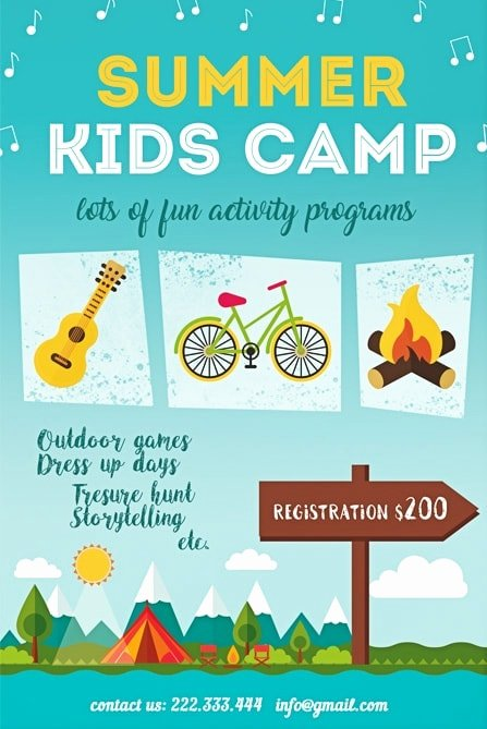 Summer Camp Flyer Template Elegant Summer Kids Camp Free Flyer Template