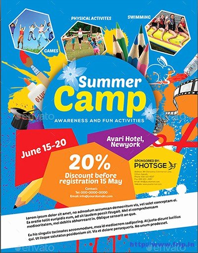 Summer Camp Flyer Template Fresh 40 Best Kids Summer Camp Flyer Print Templates 2016