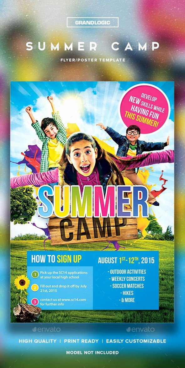 Summer Camp Flyer Template Fresh Summer Camp Flyer Poster