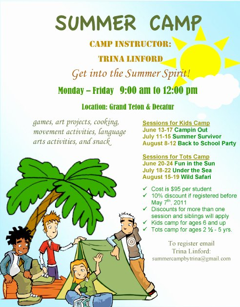 Summer Camp Flyer Template New Summer Camp Summer Camp Flyer