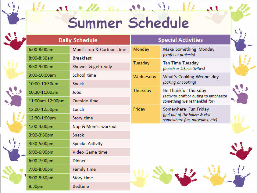 Summer Camp Schedules Template Beautiful I Created This Summer Schedule for My son Using A Free