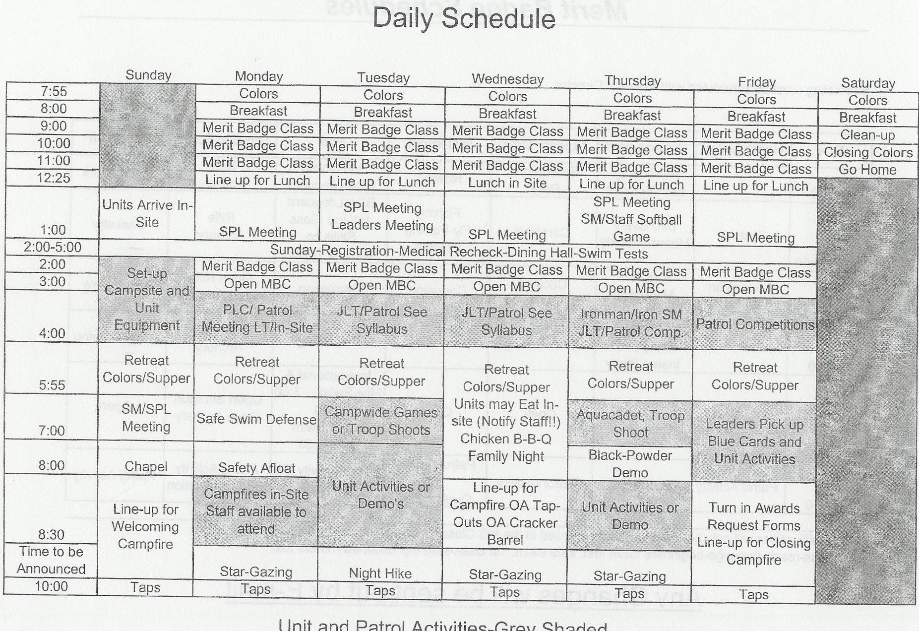 Summer Camp Schedules Template Best Of Seven Mountains Summer Camp 2004 General Camp Schedule