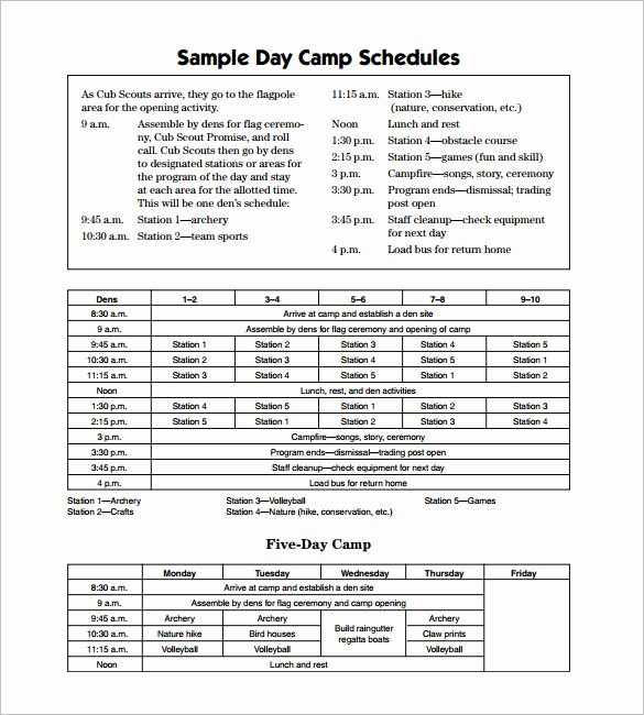 Summer Camp Schedules Template Elegant 13 Camp Schedule Templates Pdf Doc