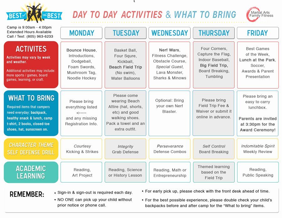 Summer Camp Schedules Template Elegant Summer Day Camp Activities Schedule Bing Images