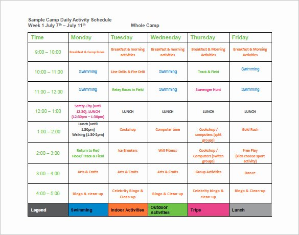 Summer Camp Schedules Template Fresh 24 Of Camp Weekly Calendar Template