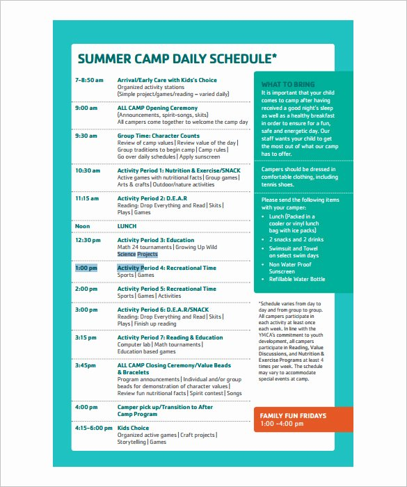 Summer Camp Schedules Template Inspirational 13 Camp Schedule Templates Pdf Doc