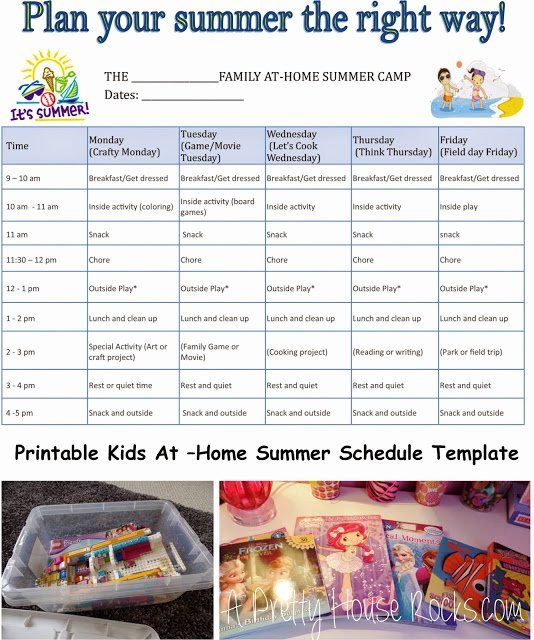 kids at home summer camp schedule