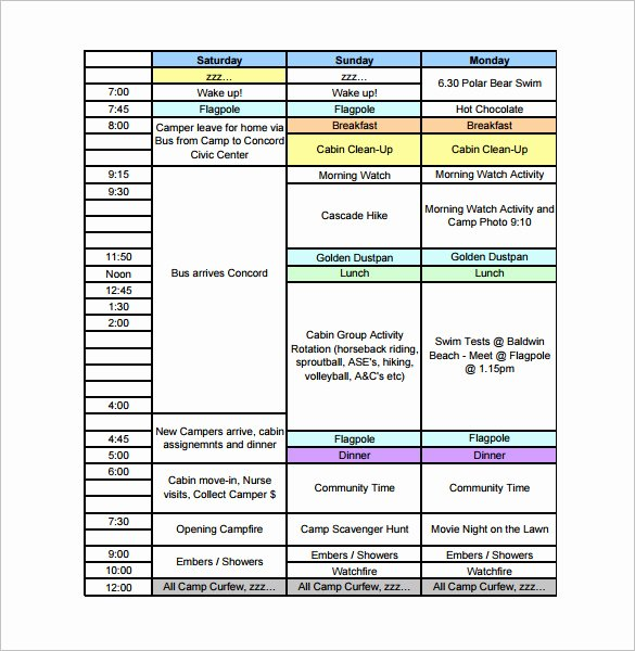Summer Camp Schedules Template Lovely 13 Camp Schedule Templates Pdf Doc