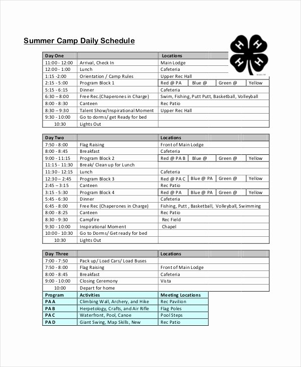 Summer Camp Schedules Template Lovely Daily Schedule Template 9 Free Word Pdf Documents