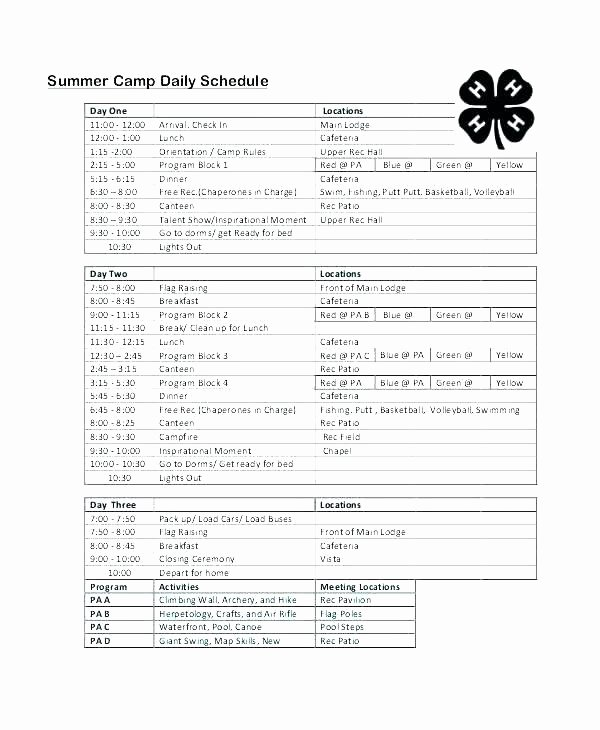 Summer Camp Schedules Template Luxury Pick Up Schedule Template Inspirational Summer Camp Daily