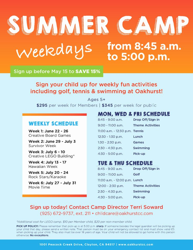 Summer Camp Schedules Template Unique 17 Best Images About Summer Camp Marketing Ideas On