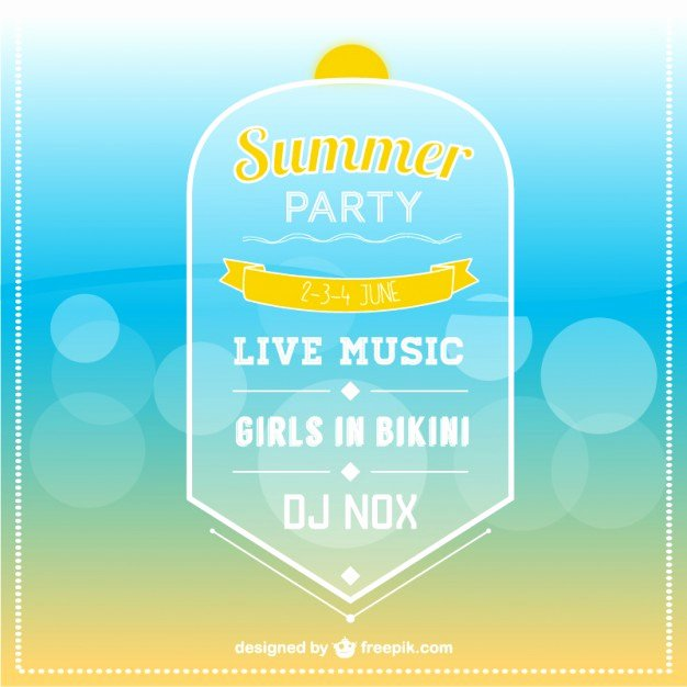 Summer Party Invitation Template Inspirational Summer Party Invitation Template Vector
