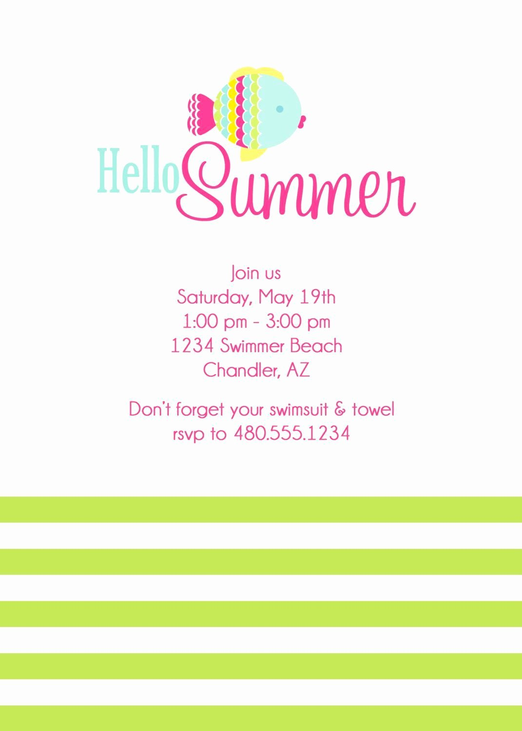 Summer Party Invitation Template Inspirational Summer Party Invitations Summer Party Invitations